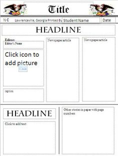 This simple newspaper template is versatile and can be used with any research project. Features: The background of the template is locked so that students can only edit the pictures and text. Text boxes will automatically resize text as students type.