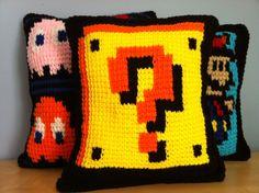 Old gamer crochet pillows. I must make one.