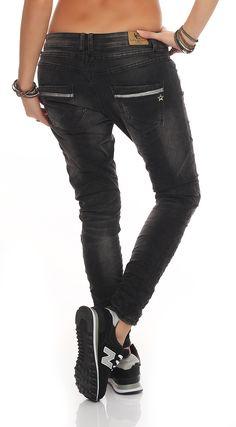 SKUTARI Damen - Jeans Boyfriend Stretch Glitzer Pailletten – Bild 3