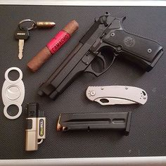 Sunday EDC photo cred: @ducati_wolf #cigarsandguns #cigars #guns #puffpuffpewpew