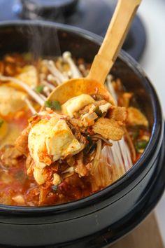 Kimchi Soondubu Jjigae (Kimchi Soft Tofu Stew)   ChefJulieYoon.com