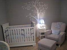 Baby Nursery Gray I know you don't like wall stencils, but this room is nice! Very calming .