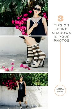 Photography Tips/ How to use shadows in your photos. Black slip dress for summer blogger @chrisellelim Photographer @janawilliamsxo