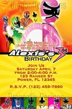 Pink Power Rangers Samurai Birthday Party Invitation