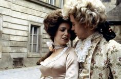 Elizabeth Berridge and Tom Hulce as Constanze and Wolfgang Amadeus Mozart in Amadeus (1984).