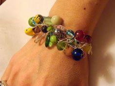 Multi Color Beaded Wire Crocheted Bracelet by gr8byz on Etsy, $15.00