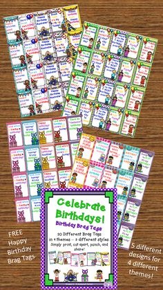 Free birthday brag tags in four themes - five different tags per theme.  Rockstar, owl, birthday kids, and superhero.