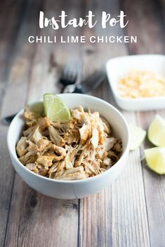 Instant Pot Chili Lime Chicken Thighs | Bright lime flavor in these shredded chicken thighs make it perfect for topping everything from salads to nachos. Throw a batch of it in the Instant Pot on a weekend and use it for your meal prep for the week.