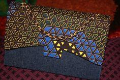 Blue &  Brown Matt Ankara & Denim Bag