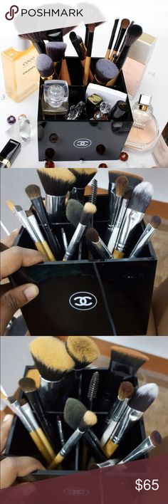 Chanel Makeup Brush VIP Gift Great item to add your dressing room or makeup area! Measures approx 5x5x4.5H   Comes in White Chanel gift box! 4 compartments to hold all your things. Brushes not included. Authentic Item not sold in stores. Closing soon! Don't hesitate to buy now! CHANEL Makeup Brushes & Tools