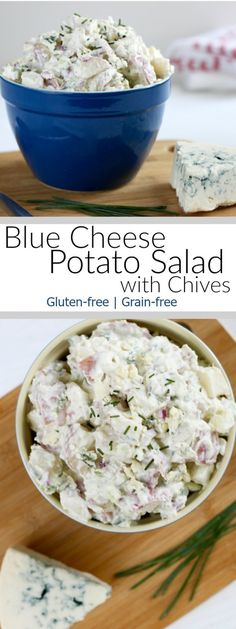 Blue Cheese Potato Salad with Chives | This potato salad is so good it made me late for my own wedding! therealfoodrds.com
