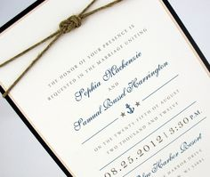 Wedding Invitation  Nautical & Ocean by JacquelineAnnInvites, $6.50