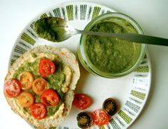 "Cilantro Pesto - would be perfect on spaghetti squash tossed with tomatoes for a low carb vegetarian ""pasta"" dinner"