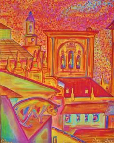 Eduart Granada illustrates Granada Cathedral in Spain. Andalusia city in Southern Spain drawing by local artist.