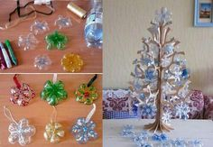 Ornaments from plastic soda bottle bottoms.