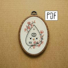 Cherry Blossom  Ouija Planchette Hand Embroidery Pattern PDF