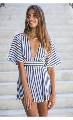 Finer Things Romper stripe / White Fox Boutique | All ...