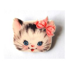 Grande broche Tête de chaton kawaii rose en Fimo; bijoux girly