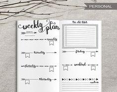 Printable Weekly Planner Inserts, Personal Weekly Traveler's Notebook Insert, Printable Bullet Journal Personal Weekly Spreadsheet, PDF file