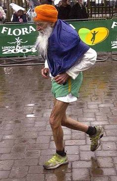 "INSPIRE: 100-year-old Fauja Singh yesterday made a Guinness World Record for being the oldest person to complete a 42 km marathon! Fondly called ""The Turbaned Tornado"", Singh ran his first marathon at the age of 89 and has run 8 marathons since! This great ""young man"" proves to us that it's never too late to run after your dreams."