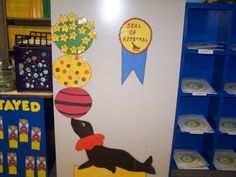 Seal of approval- circus classroom theme Circus Decorations, Carnival Themes, Circus Theme Classroom, Classroom Decor, Preschool Circus, Preschool Activities, Classroom Charts, Future Classroom, School Themes