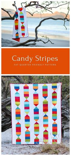 Candy Stripes by Cheryl of Meadow Mist Designs is perfect for a confident beginner quilter and contains instructions for three sizes. The pattern is pre-cut friendly: fat eighths for baby, fat quarters for lap, and half yard cuts for twin. #candystripesquilt #meadowmistdesigns Modern Quilt Patterns, Paper Piecing Patterns, Quilt Patterns Free, Longarm Quilting, Machine Quilting, Fat Quarter Quilt, Striped Quilt, Quilting Designs, Quilting Ideas