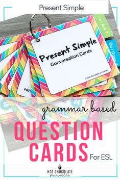 Need some simple questions to ask your beginner ESL students? If you are teaching the Present Simple tense, Wh-questions and adverbs of frequency, this is a great 150 card set to promote coversation fluency even when language skills are limited! #eslnewcomers #eslteacher #conversationstarters English Vocabulary Games, Grammar And Vocabulary, Teachers Pay Teachers Free, Teachers Aide, Back To School Activities, School Ideas, Teacher Must Haves, Icebreaker Activities, Wh Questions