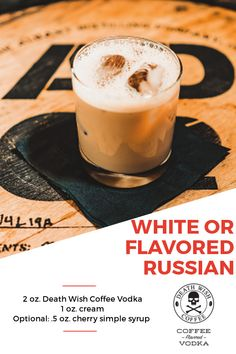 White or Flavored Russian - 2 oz. Death Wish Coffee Vodka and 1 oz. Combine ingredients and shake. Transfer to rocks glass. Option to add garnish for flavored russians. Vodka Recipes, Cocktail Recipes, Vodka Drinks, Cocktails, Coffee Vodka, Coffee Mix, Cold Brew, Simple Syrup, Coffee Recipes