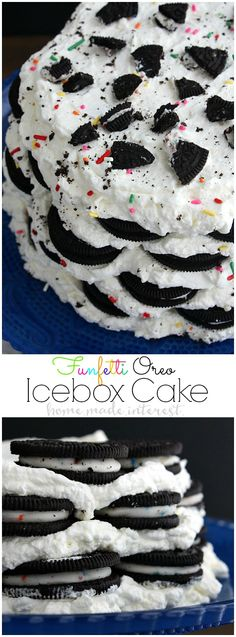 This Funfetti Oreo Icebox Cake is a no bake cake made with layers of whipped cream and Oreos. It is an easy cake recipe that everyone will love! I can't get enough Oreos so this is my favorite birthday cake recipe. We even have a quick and easy tutorial on how to make a cake stand from thrift store items. It is such a simple way to make a personalized birthday gift for a friend complete with an Oreo Icebox Cake on top!! #GorillaTough #GorillaOfCourse #ad