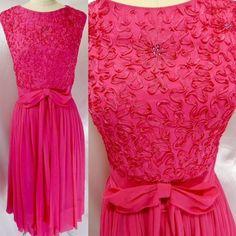 e8f20226b9d Vintage PARTY DRESS~HOT PINK SILK CHIFFON SOUTACHE   RHINESTONES A-LINE 36B  26W