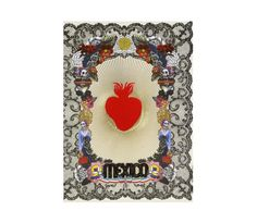 128 ruled pages. The Day of the Dead. End paper paintings tell a beautiful story--two couples falling in love on St. Valentines Day, thanks to the holy Virgin of Guadalupe, with two retablos painted i