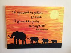 Elephant Sunset Meets African Wisdom by ArtbyHannahBonacci on Etsy Elephant Quotes, Elephant Love, Diy Painting, Painting & Drawing, Watercolor Painting, Canvas Frame, Canvas Art, Painted Canvas, Animal Silhouette