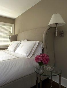 Velvet Wingback Headboard - Transitional - bedroom - At Home in Arkansas Bedroom Sets, Home Decor Bedroom, Bedroom Wall, Dream Bedroom, Master Bedroom, Wingback Headboard, Fabric Headboards, Transitional Bedroom, Beautiful Bedrooms