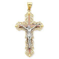14K Tri-Color Diamond -Cut Crucifix Pendant #IceCarats
