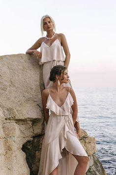 Shop the Shona Joy Luxe Bias Frill Wrap Dress in Porcelain. Over 250 dresses to shop. Beach Editorial, Editorial Fashion, Designer Bridesmaid Dresses, Designer Dresses, Greece Outfit, Beach Shoot, Beach Trip, Beach Dresses, No Frills