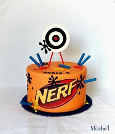 Nerf torta, Autorka: Mischell You are in the right place about camo Nerf Gun Cake Here we offer you Nerf Birthday Party, Nerf Party, Birthday Candy, 8th Birthday, Birthday Ideas, Nerf Gun Cake, Gun Cakes, Cake Design Inspiration, Family Birthdays