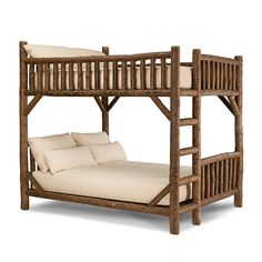 Rustic Bunk Bed Queen/Queen (Ladder Left) #4526L (shown in Natural Finish) by La Lune Collection