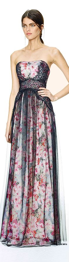 Love the strategically placed floral pattern. So flattering, Marchesa Notte ♔ Resort Beautiful Gowns, Beautiful Outfits, Pretty Outfits, Pretty Dresses, Floral Fashion, Fashion Design, Style Fashion, Marchesa Fashion, Evening Dresses