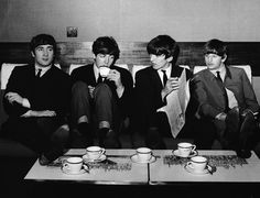 4th November 1963: The Beatles take a break from their rehearsals for the Royal Variety Performance at the Prince of Wales Theatre, with a coffee after lunch at the Mapleton Hotel.