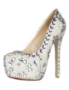 White Almond Toe Rhinestone Embellished Stiletto Heel Women s High Heels   91 Pumps Heels ecbb6ed5a4a0