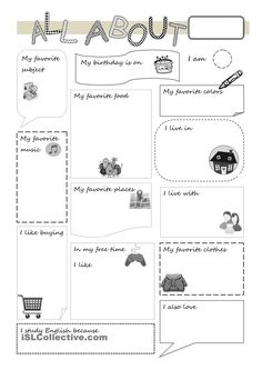 All about me worksheet - Free ESL printable worksheets made by teachers Kindergarten Assessment, Free Kindergarten Worksheets, Free Printable Worksheets, Worksheets For Kids, Preschool Activities, Printables, All About Me Preschool, All About Me Activities, English Activities