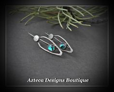 Reflection~ Paua Shell Argentium Silver Hand Fabricated Artisan Earrings by AztecaDesignsBoutique, $75.00 USD