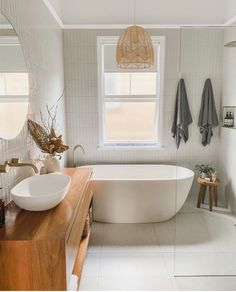 A beautiful bathroom to inspire us all. Using our Albert Park tiles in Full white on the wall and Redfern in white on the floor. Bathroom Renos, Laundry In Bathroom, Bathroom Renovations, Small Bathroom, Washroom, Decor Inspiration, Bathroom Inspiration, Bathroom Interior Design, Home Interior