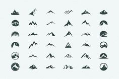 Pack of 12 mountains logo, 62 icons by AliceNoir on Creative Market - Logos Tattoo Templates, Logo Templates, Minimal Logo Design, Graphic Design, Business Icons, Berg Logos, Montain Tattoo, Creative Market, Creative Icon