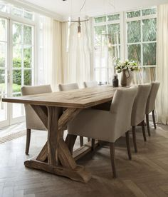 Home Decoration Tips for Decorators on the Budget Cosy Dining Room, Country Dining Rooms, Dinning Table, Dining Room Design, Küchen Design, House Design, Rustic Farmhouse Furniture, Tadelakt, Country Interior