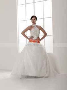 Fave: Perline - High Neck Appliqued Satin Wedding Dress with Bright Waistband