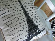 French script pillow, eiffel tower, france,burlap pillow,shabby chic, farmhouse decor, cottage decor, linen pillow ,handmade pillow. $22.00, via Etsy.