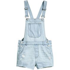 Denim Bib Overall Shorts $34.99 ($35) ❤ liked on Polyvore featuring shorts, overalls shorts, blue shorts, short overalls, denim overalls shorts and destroyed shorts