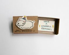 Funny Hippo Birthday Card Matchbox/ Cute Hippo Card by 3XUdesign