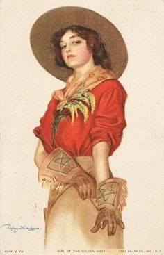 Decorative postcard, depicting a cow-girl, entitled: Girl of the Golden West Postcard. Popular image but hard to find as postcard, artist signed. Cowboy Art, Cowboy And Cowgirl, Cowgirl Style, Vintage Prints, Vintage Art, Flotsam And Jetsam, Vintage Cowgirl, Le Far West, Old West